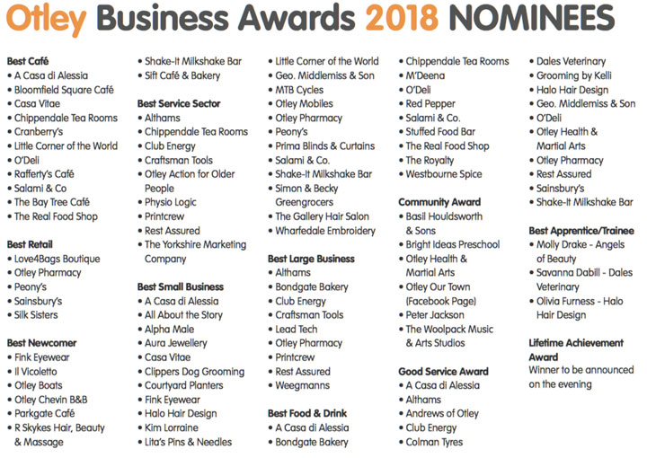 Otley Business Award 2018 Nominees